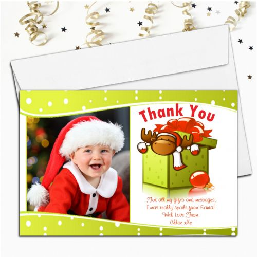 10 Personalised Christmas Xmas Thank you PHOTO Cards N26